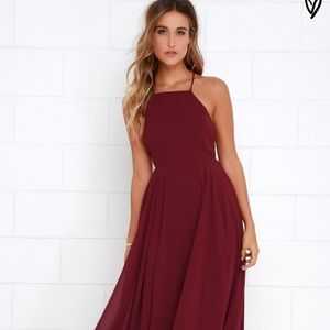 Lulu's Mythical Kind of Love Wine Red Maxi Dress